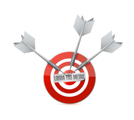 bull's eye: achieve your goals target bullseye in Spanish . Illustration design Illustration