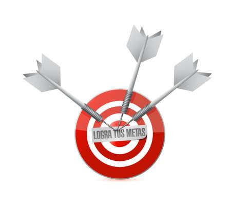 achieve your goals target bullseye in Spanish . Illustration design Illustration