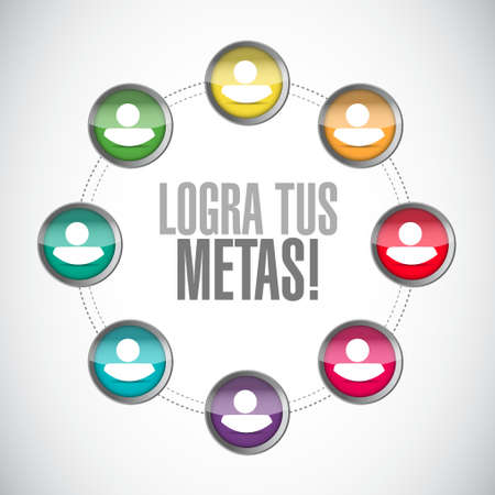 opportunity sign: achieve your goals network diagram sign in Spanish. Illustration design Illustration