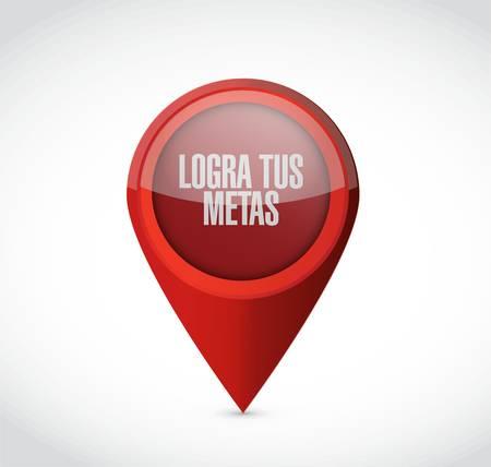 スペイン語であなたの目標のポインターのサインを実現します。イラスト デザイン