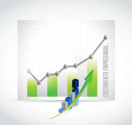 Business Growth graph sign in Spanish. illustration design graphic Çizim