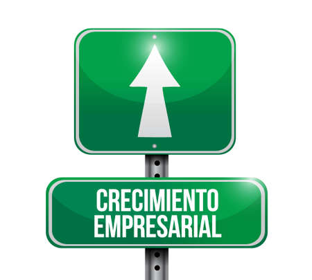 consult: Business Growth road sign in Spanish. illustration design graphic