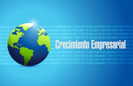 Business Growth binary globe sign in Spanish. illustration design graphic
