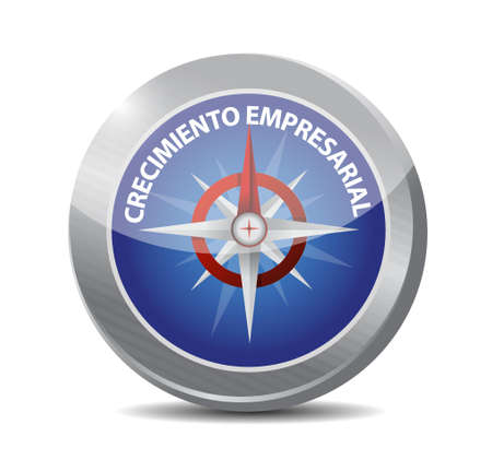 Business Growth compass sign in Spanish. illustration design graphic Ilustrace