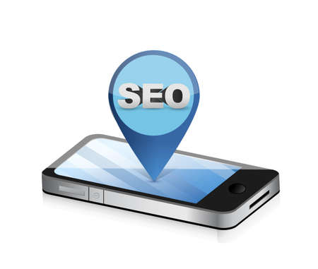 seo phone locator illustration over a white background Иллюстрация