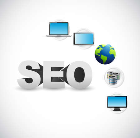 seo tech network illustration over a white background