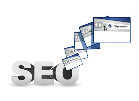 seo browser website illustration over a white background