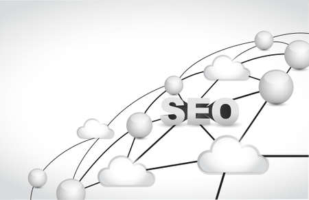 meta: seo link network illustration over a white background