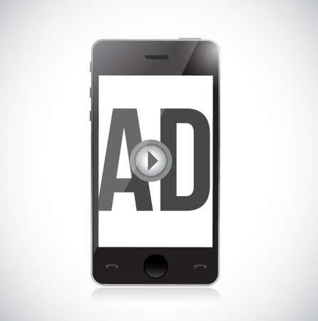 스마트 폰에서 광고를 재생할 수 있습니다. 개념 그림 흰색 배경 위에 격리 된 디자인 일러스트
