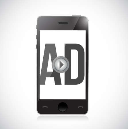 play ad on a smart phone. concept illustration design isolated over a white background Illusztráció