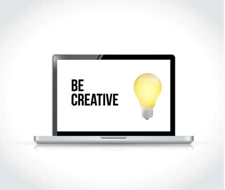 be creative bright idea light bulb sign on a computer. isolated illustration over white Ilustração