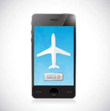 reservation: mobile check in for a flight. isolated illustration design over a white background
