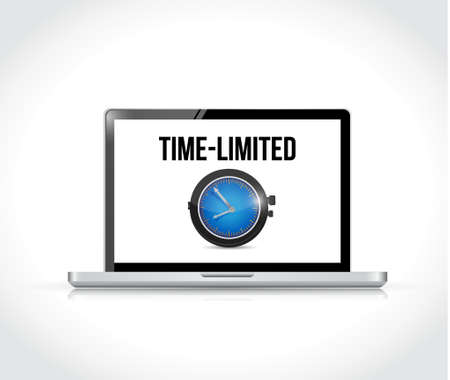 time limited sign on a laptop computer. isolated illustration over white