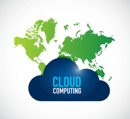 cloud computing world map illustration design isolated over white