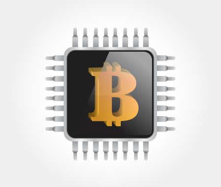 bitcoin chip online valuta illustratie geïsoleerde over wit Stock Illustratie
