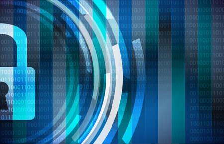 Sperren Sie Cybersecurity-Konzept-Illustration über einen binären Hintergrund Standard-Bild - 80793821