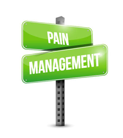 pain management street sign illustration isolated over a white background Stock Illustratie
