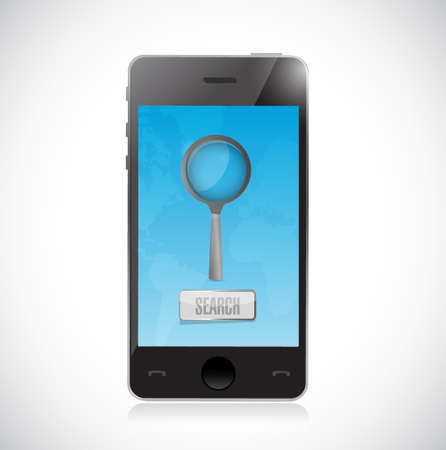 searching for information on a mobile phone. illustration design