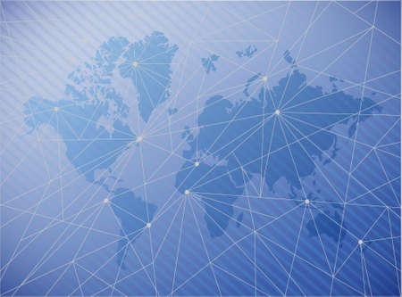 world map technology network diagram link. blue illustration background