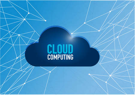 cloud computing technology network diagram link. blue illustration background