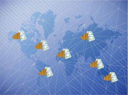 business technology network diagram link. world map illustration background