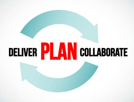 plan deliver collaborate cycle. illustration design isolated over a white background