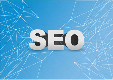 search engine optimization over a technology network diagram illustration blue background