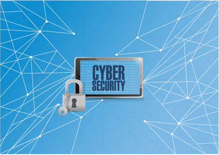 cyber security binary tablet over a technology network diagram illustration blue background Çizim