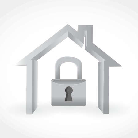 home security lock illustration design isolated over a white background Illustration