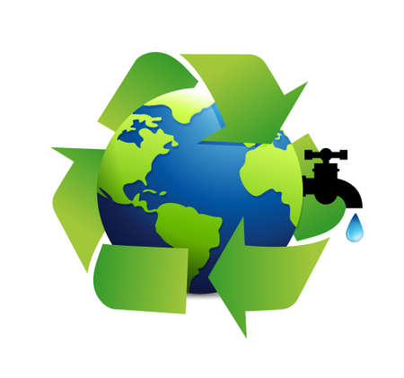 cíclico: reciclar el agua diseño de ilustración del concepto de globo sobre un fondo blanco