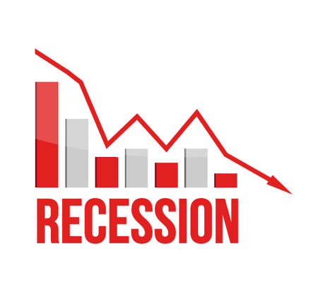 financials in red. recession business graph concept illustration design over white