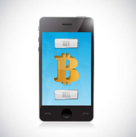 buy or sell bitcoin currency with smartphone. forex market illustration design