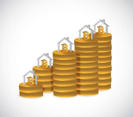 bitcoin home financials concept illustration design over a white background