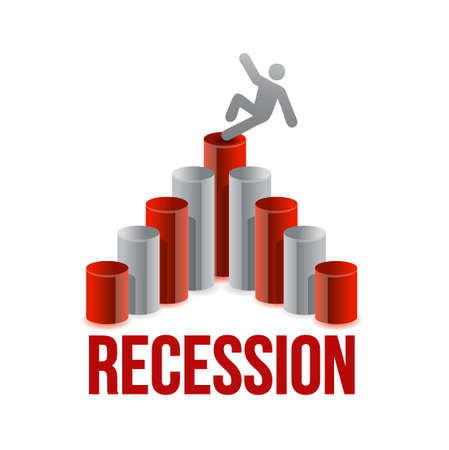 falling for chart. recession graph illustration design over a white background