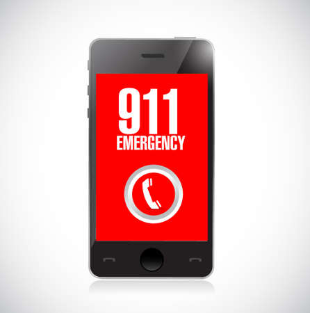 911 비상 전화 아이콘이 그림 흰색 배경 위에 절연
