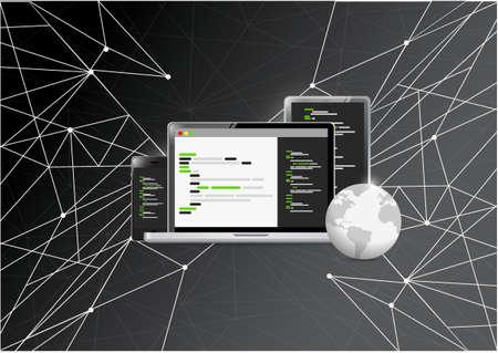リンク黒背景に分離された国際電子コーディング概念図  イラスト・ベクター素材