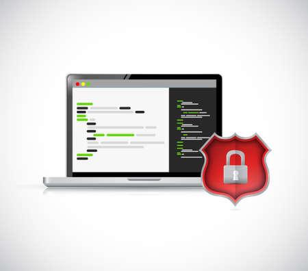 Security coding concept icon illustration design isolated over white Çizim