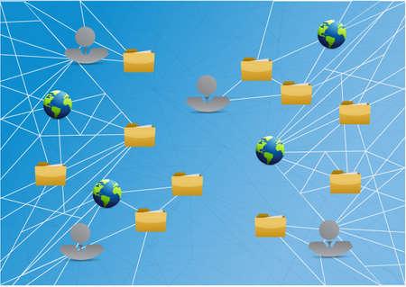 uploading: people global storage network link diagram over a light blue background