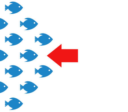 oppose: fish bank against the current concept illustration design over white Illustration
