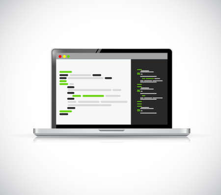 writing on screen: laptop coding computer icon illustration isolated over white Illustration