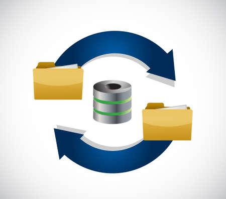 serverinhoud opslagcyclus illustratie pictogram geïsoleerd over wit Stock Illustratie