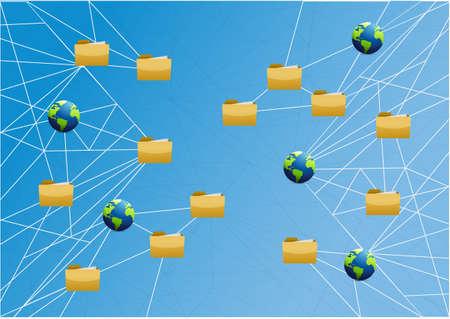 global storage network link diagram over a light blue background