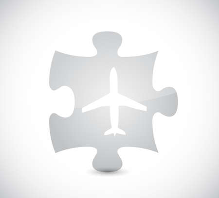 airplane puzzle piece illustration design over a white background Иллюстрация