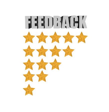 feedback stars list illustration design over a white background