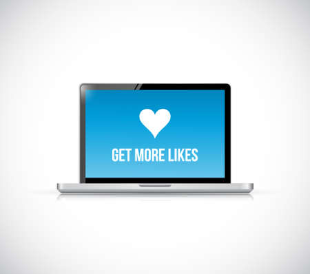 get more likes laptop computer illustration isolated over white