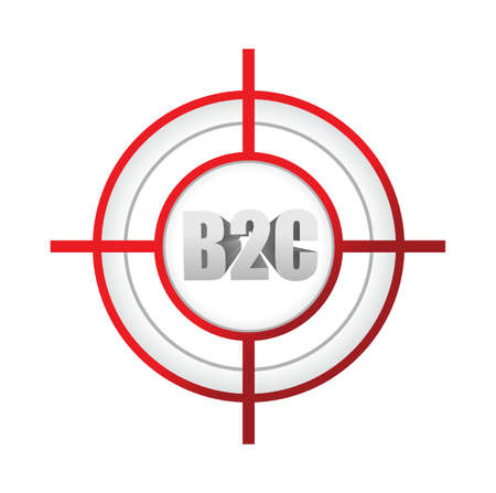 sniper: b2c business to customer target sign concept illustration design over a white background