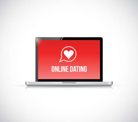 online dating. laptop computer illustration isolated over white