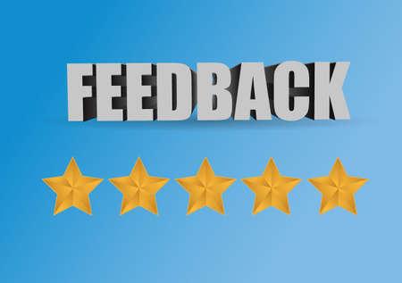 five star: positive feedback sign concept illustration over a blue background