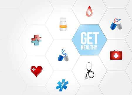 Krijg gezond medisch de illustratieontwerp van het diagramnetwerk over wit Stockfoto