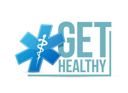 Get healthy blue medical sign illustration isolated over white